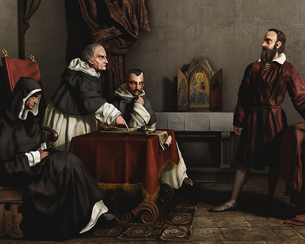 Galileo facing the Roman Inquisition - a 3d reproduction of a famous painting by Cristiano Banti, where Galileo Galilei is facing the roman inquisition; modeling and rendering done in Lightwave, postprod in photoshop